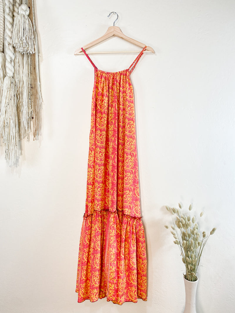 Topanga Maxi Dress - Bright Pink with Yellow
