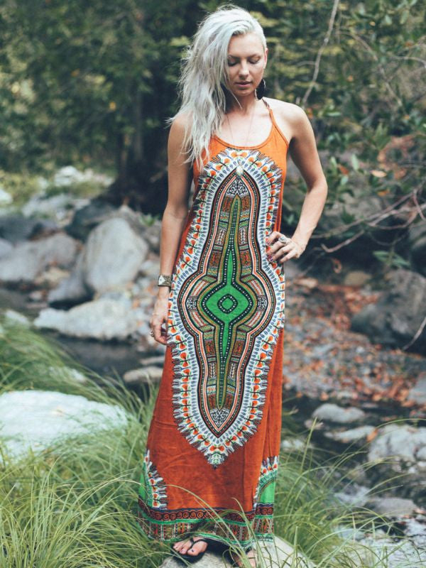 Burnt Orange Gaia Maxi Dress - Blonde Vagabond