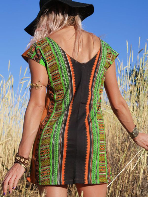 Burnt Orange Tribal Tunic - Blonde Vagabond