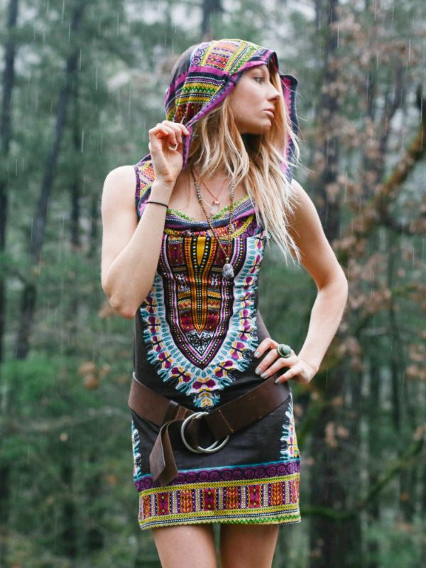 Enchanted Brown Day Tripper Dress (Mini) - Blonde Vagabond