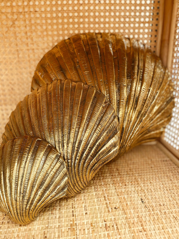 THE BRASS SCALLOP SHELL -brass, coastal luxe, decor - Black Salt Co