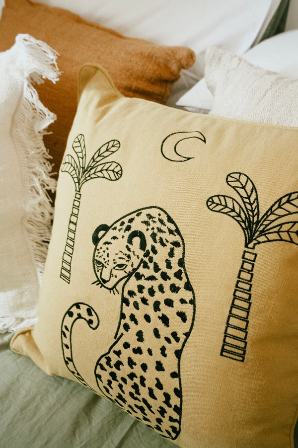 THE SHY LEOPARD CUSHION - Black Salt Co Coastal Luxe Homewares and Decor