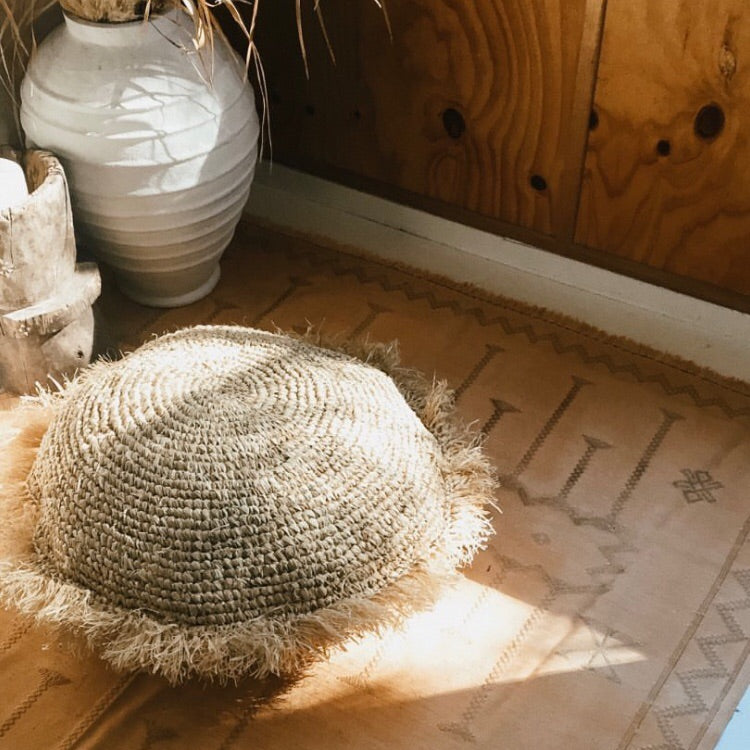 THE PERO ROUND FLOOR CUSHION - Black Salt Co Coastal Luxe Homewares and Decor