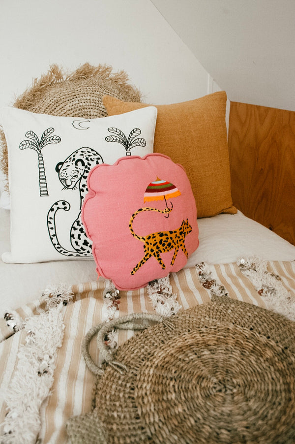THE SUNNY LEOPARD BUTTON CUSHION - Black Salt Co Coastal Luxe Homewares and Decor