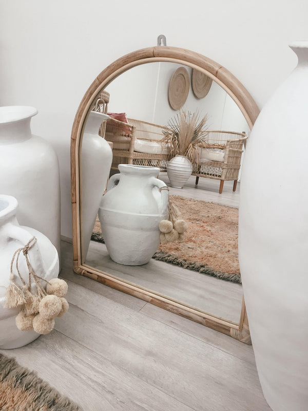 THE ARCH MIRROR -coastal luxe, rattan - Black Salt Co