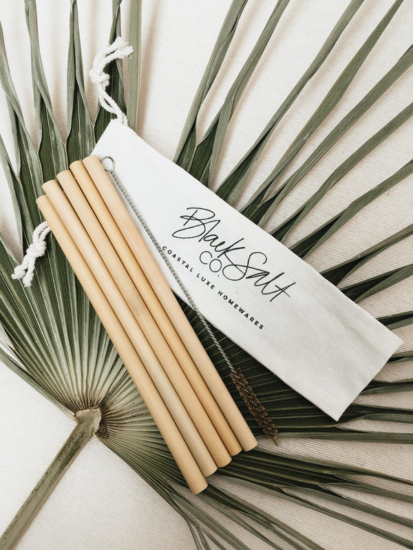 THE BAMBOO STRAW PACK -coastal luxe, decor, kitchen - Black Salt Co
