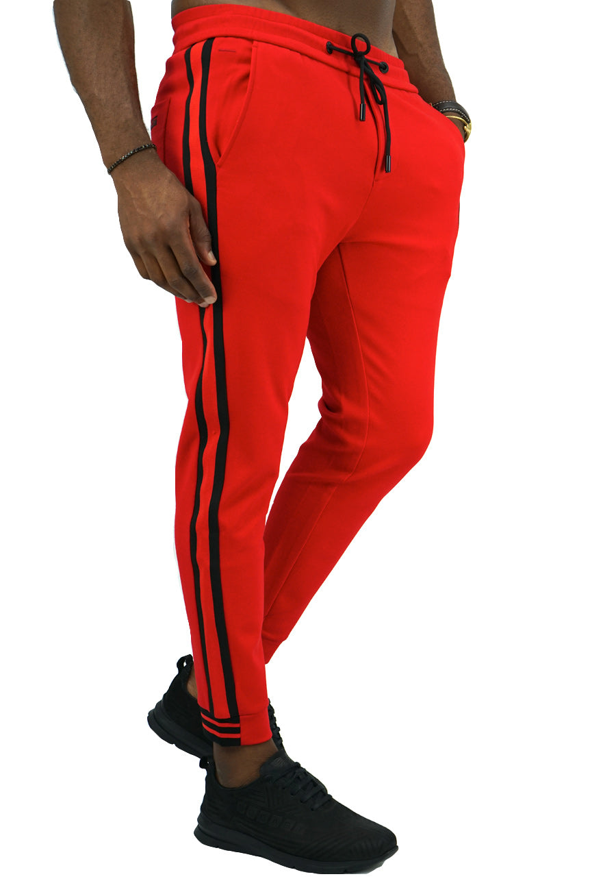 Red & Black Trackpants front-Red