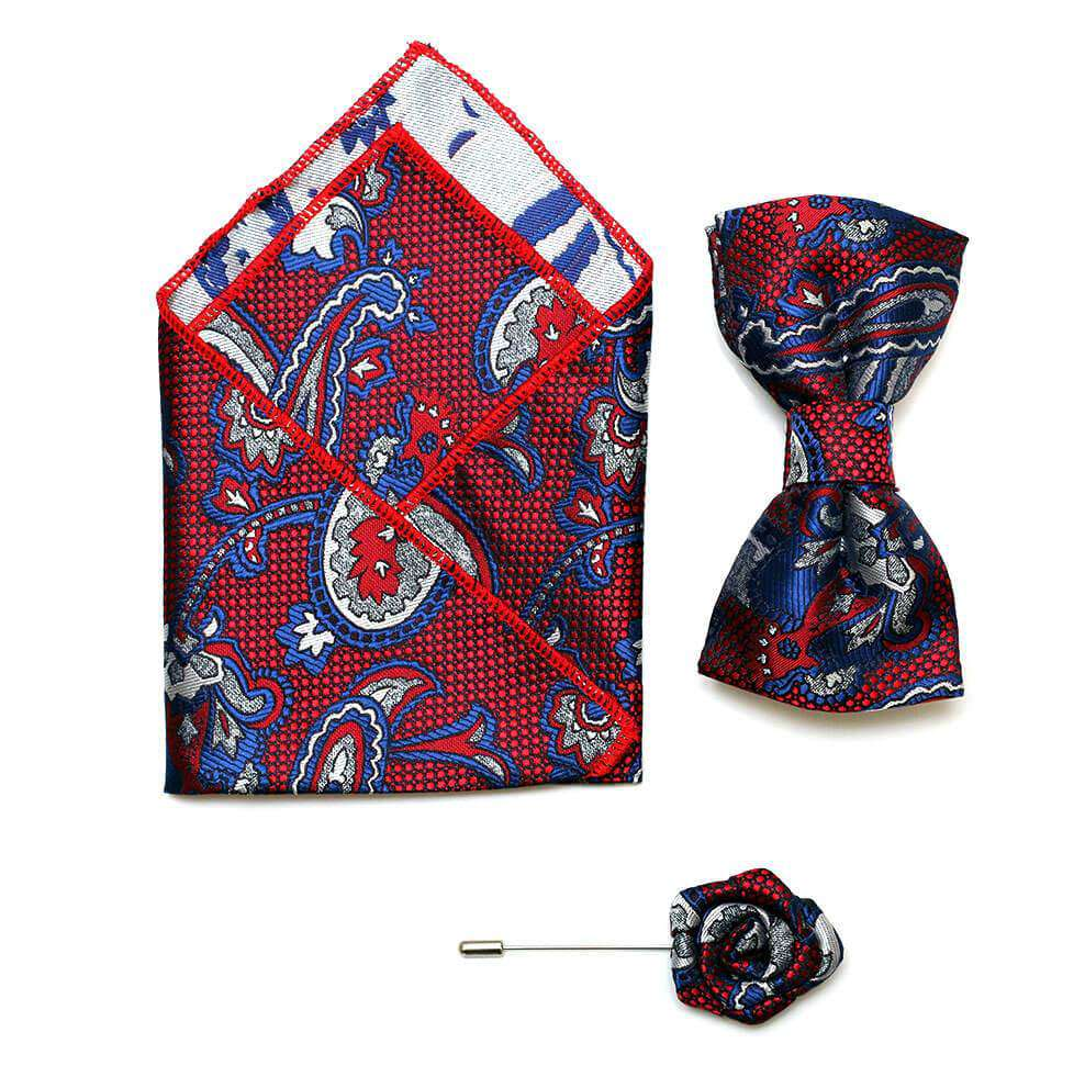 Paisley print pocket Handkerchief, a matching lapel pin and a textured bow tie-Red