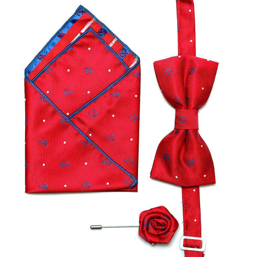 bowtie, pocket handkerchief and lapel pin set 2-Red