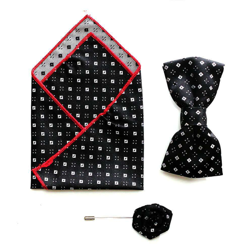 Handkerchief and lapel pin set -Black