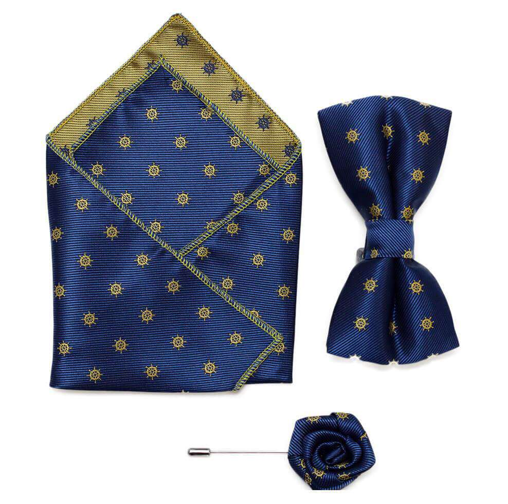Bow/Pin and Hankie Set 6 - Navy