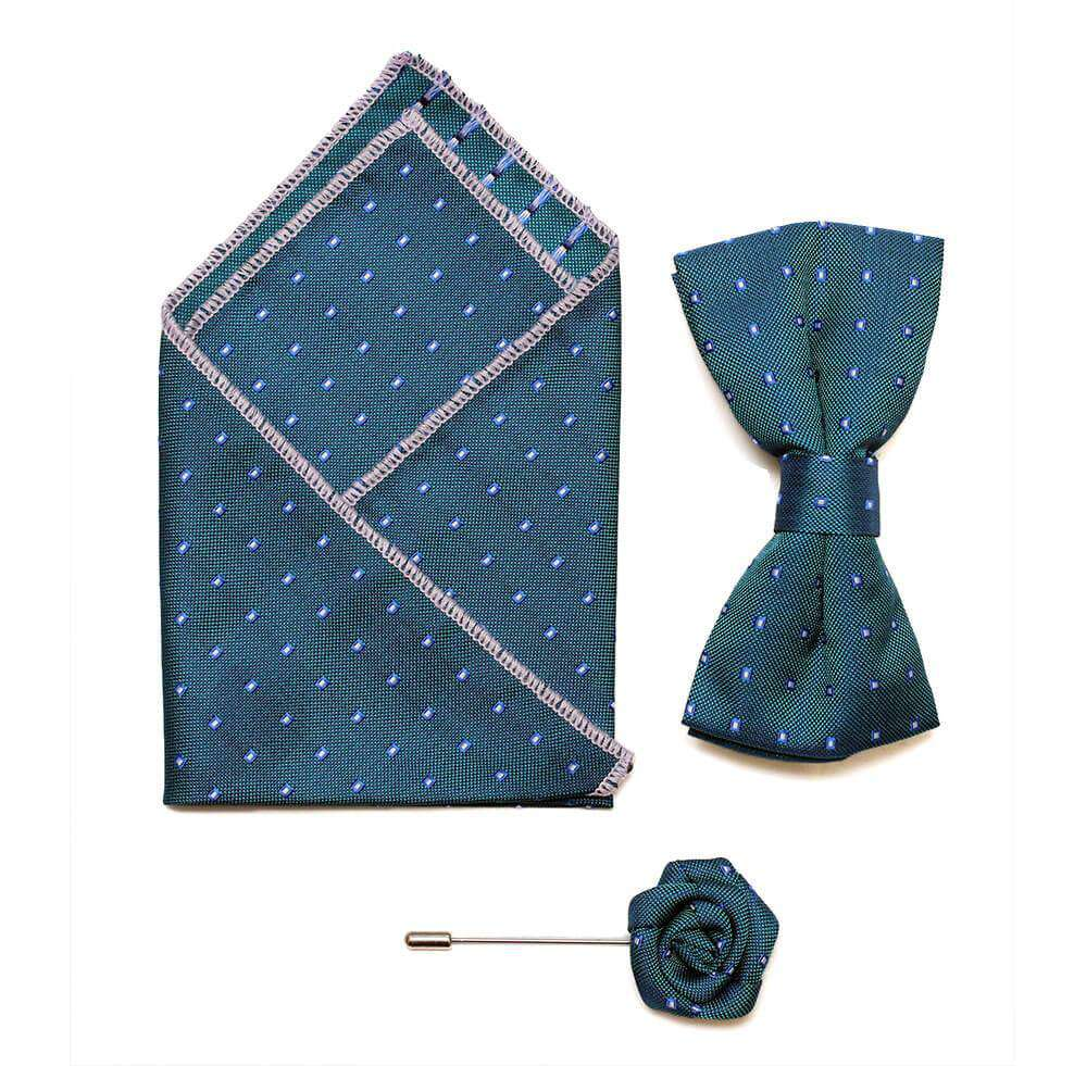 Bow/Pin and Hankie Set 8 - Turquise