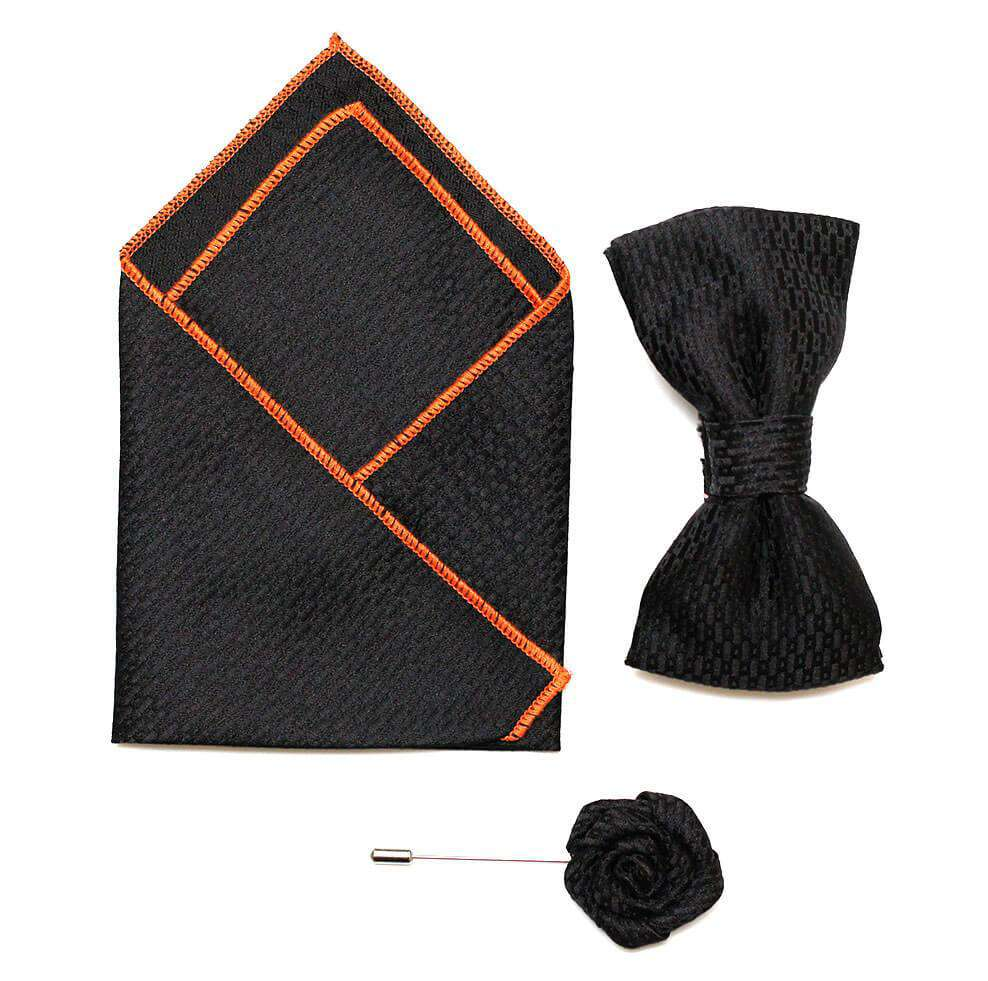 Bow/Pin and Hankie Set 9-Black