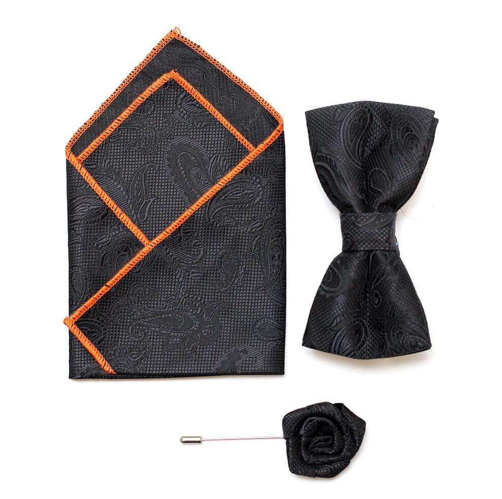 Bow/Pin and Hankie Set 10-Balck