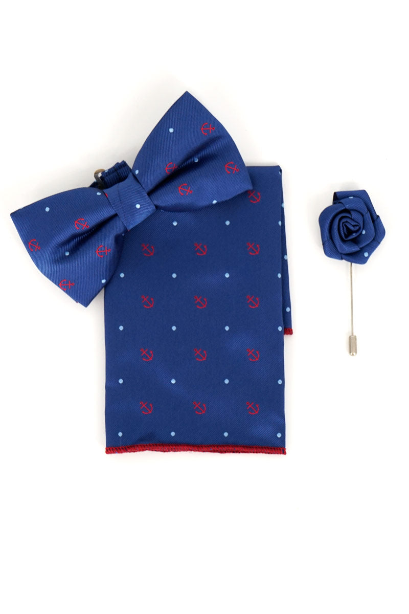 bowtie, pocket handkerchief and lapel pin set-Red