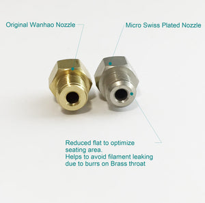 Plated Wear Resistant Nozzle for WANHAO Duplicator 5 Series
