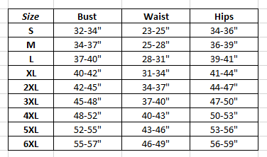 Corset Sizing Guide