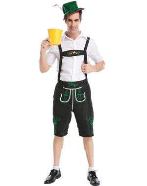 Long Black Men's Oktoberfest Lederhosen