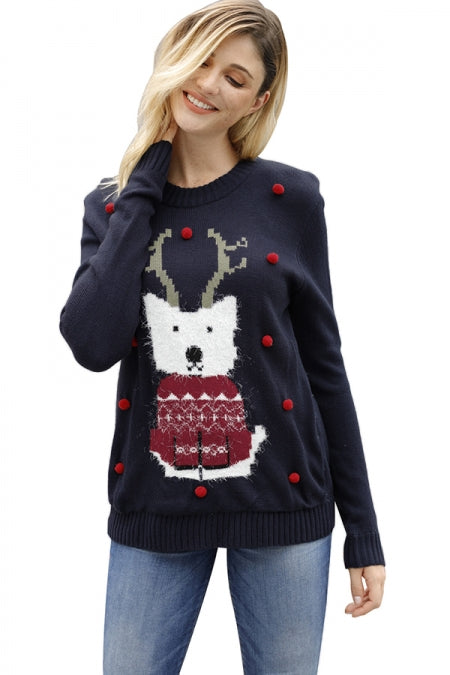 Cute Puppy Knitted Christmas Jumper