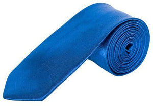 Royal Blue Satin Skinny Neck Tie