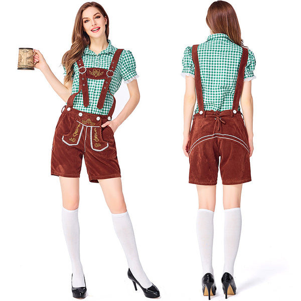 Ladies Brown Lederhosen with Green Shirt