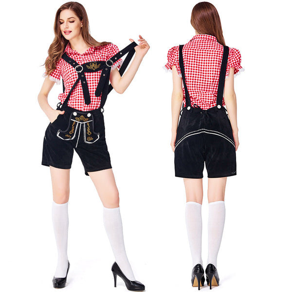 Ladies Black Lederhosen with Red Shirt