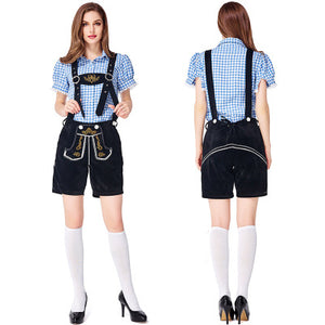Ladies Black Lederhosen with Blue Shirt