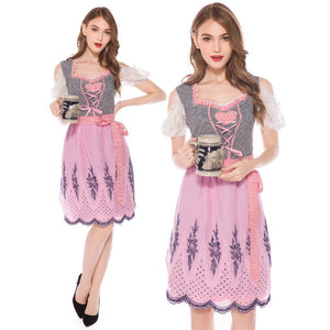 Baby Pink Checked Knee Length Dirndl
