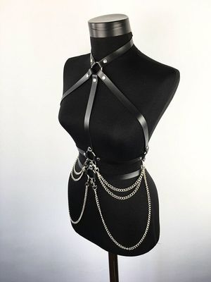 Black and Chain Body Harness