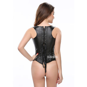 Black wet look pvc underbust corset vest