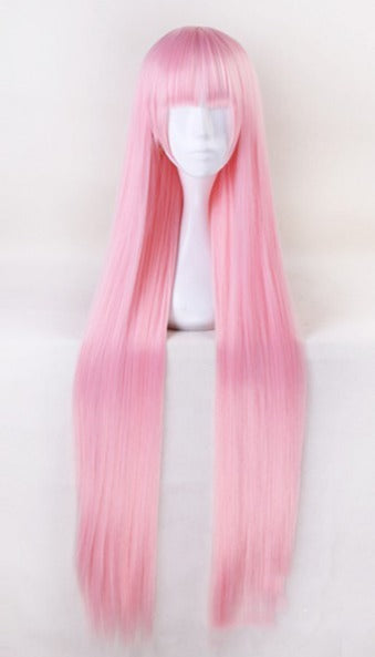 100cm Long Straight Pink Anime Wig