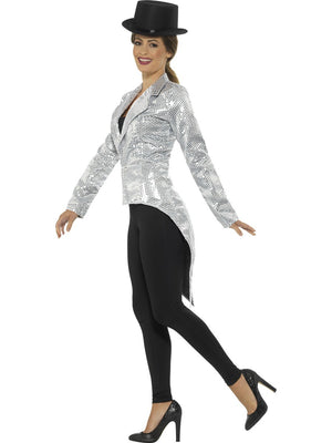 Ladies Silver Sequin Tail Coat Jacket