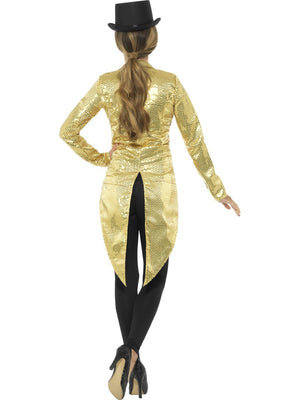 Ladies Gold Sequin Tail Coat Jacket