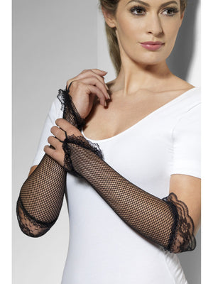 Black Fishnet Gloves with Lace Detail