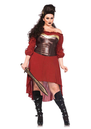 Plus Size Burgundy Peasant Dress