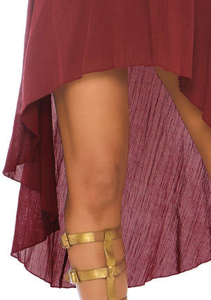 Burgundy Peasant Dress