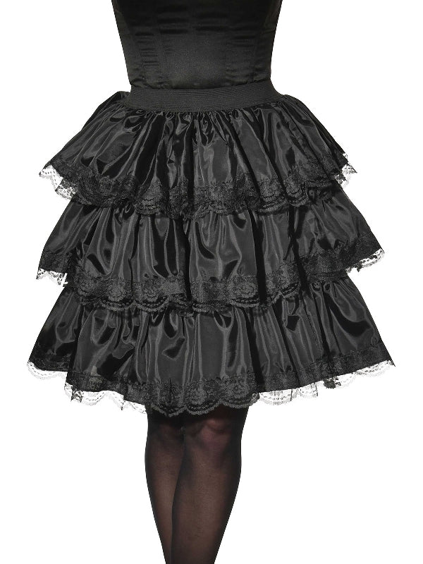 Black Lace Ruffle Skirt
