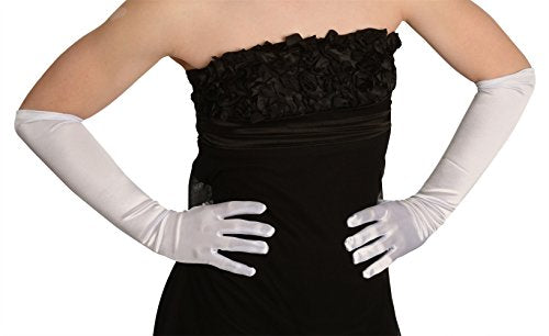 45cm White Satin Gloves
