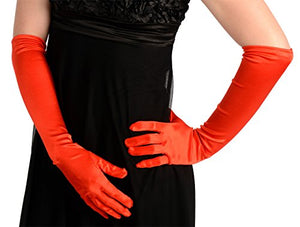 45cm Red Satin Gloves