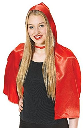 Cropped Red Satin Hooded Cape