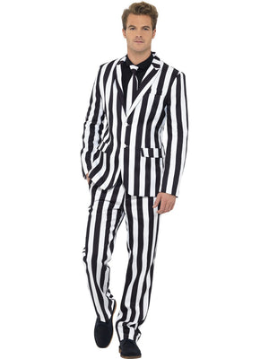 Black & White Stripe Printed Stand Out Suit