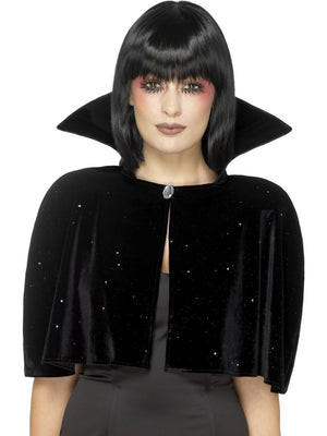 Black Evil Queen Glitter Cape