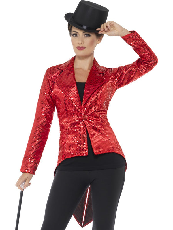 Ladies Red Sequin Tail Coat Jacket