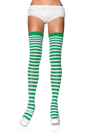 Green and White Striped Thigh Highs