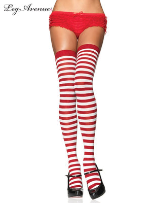 Red and White Striped Thigh Highs