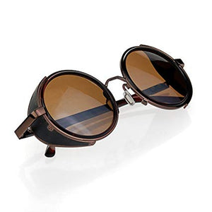 Brown Round Steampunk Style Glasses