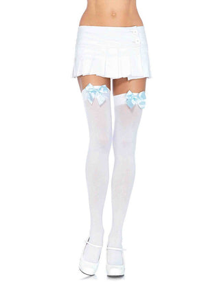 White Thigh Highs with Blue Bows