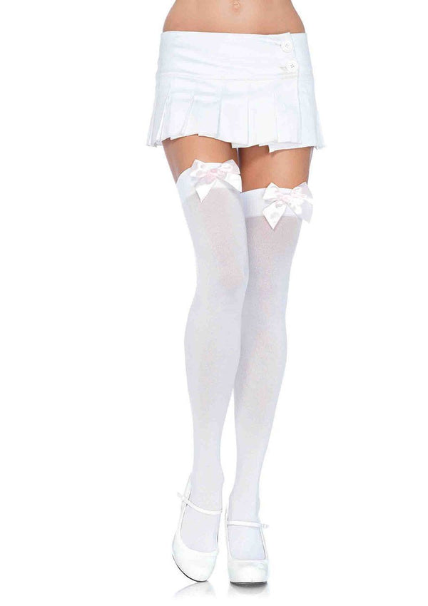 White Thigh Highs with Baby Pink Bows