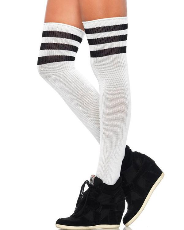 Athletic Thigh High Sports Socks White