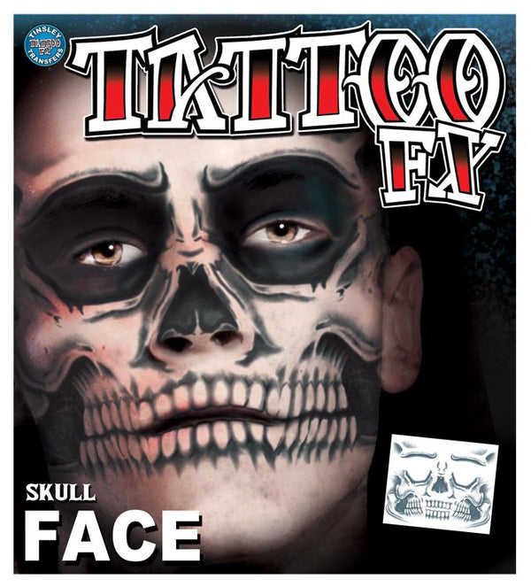 Tinsley: Skeleton Full Face Temporary Tattoo